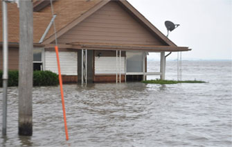 A home underwater during the 2011 Missouri River Flooding